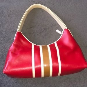 Tods red racing purse